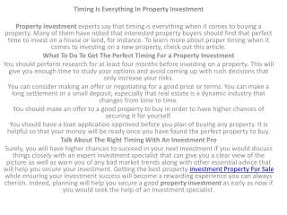 Investment Property sale for