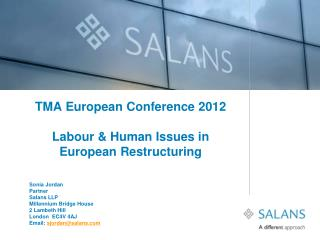 TMA European Conference 2012  Labour  Human Issues in European Restructuring