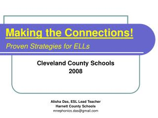 Making the Connections Proven Strategies for ELLs