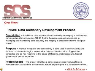 Over View:        NSHE Data Dictionary Development Process