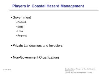 Players in Coastal Hazard Management