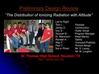 Preliminary Design Review   The Distribution of Ionizing Radiation with Altitude
