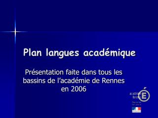 Plan langues acad mique