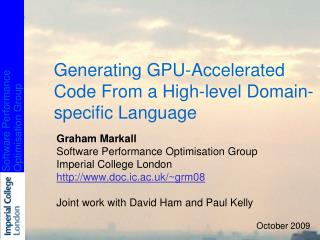 Generating GPU-Accelerated Code From a High-level Domain-specific Language