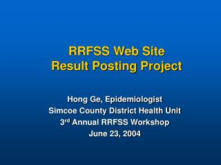 RRFSS Web Site  Result Posting Project