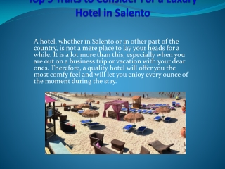 Top 5 Traits to Consider For a Luxury Hotel in Salento