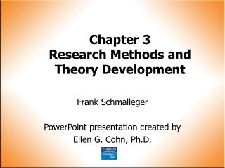 Chapter 3 Research Methods and Theory Development
