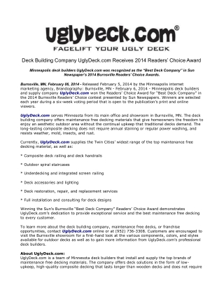 Deck Building Company UglyDeck.com Receives 2014 Readers' Ch