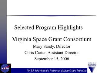 Selected Program Highlights