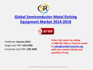 Global Semiconductor Metal Etching Equipment Market 2014 to