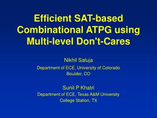 Efficient SAT-based Combinational ATPG using Multi-level Dont-Cares