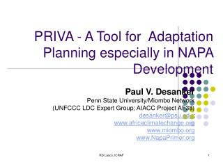 PRIVA - A Tool for  Adaptation Planning especially in NAPA Development