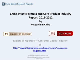 China Infant Formula and Care Product Industry
