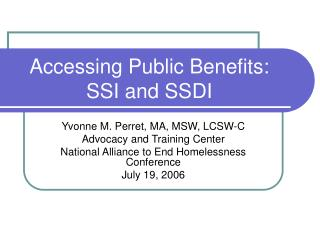 accessing public benefits: ssi and ssdi