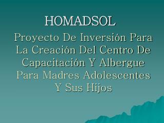 Proyecto De Inversi n Para La Creaci n Del Centro De Capacitaci n Y Albergue Para Madres Adolescentes Y Sus Hijos
