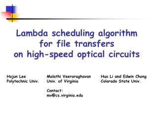 Lambda scheduling algorithm  for file transfers  on high-speed optical circuits