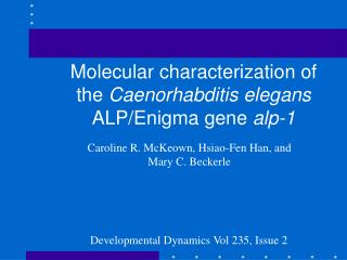 Molecular characterization of the Caenorhabditis elegans ALP