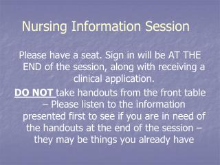 Nursing Information Session