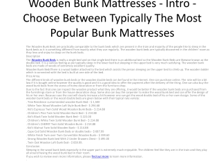 Wooden Bunk Mattresses - Intro - Choose Between Typically Th