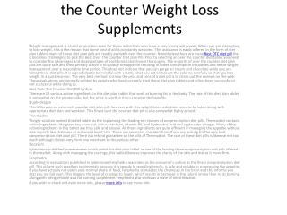 Finest Over The Counter Diet Tablet - Non-prescription