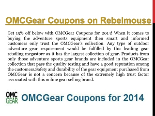 OMCGear Coupon Codes Found Here