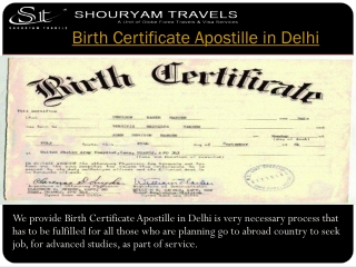 Birth Certificate Apostille in Delhi