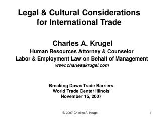 Legal  Cultural Considerations for International Trade