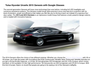 Tulsa Hyundai Unveils 2015 Genesis with Google Glasses