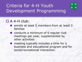 Criteria for 4-H Youth Development Programming