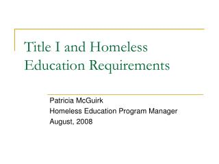 Title I and Homeless Education Requirements