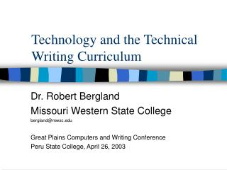 technology and the technical writing curriculum