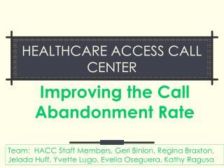 healthcare access call center