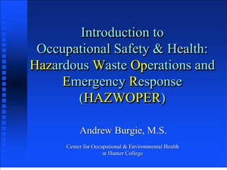 introduction to  occupational safety  health: hazardous waste operations and emergency response hazwoper
