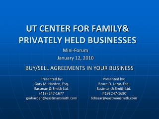 UT CENTER FOR FAMILY PRIVATELY HELD BUSINESSES