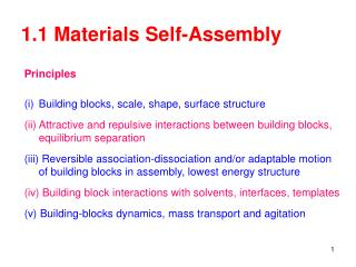 1.1 Materials Self-Assembly