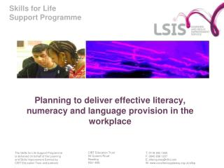 Planning to deliver effective literacy, numeracy and language provision in the workplace