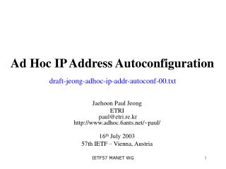 ad hoc ip address autoconfiguration