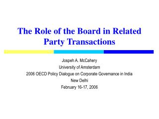 The Role of the Board in Related Party Transactions