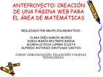 ANTEPROYECTO: CREACI N DE UNA P GINA WEB PARA EL  REA DE MATEM TICAS