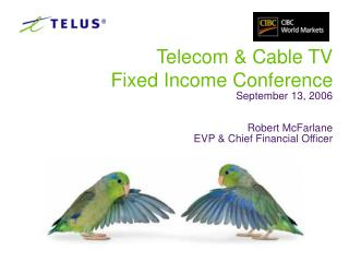 Telecom  Cable TV  Fixed Income Conference September 13, 2006   Robert McFarlane EVP  Chief Financial Officer