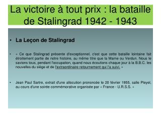 La victoire   tout prix : la bataille de Stalingrad 1942 - 1943