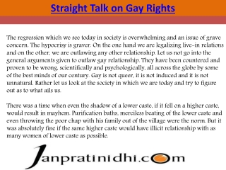 Straight Talk on Gay Rights