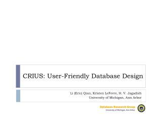 CRIUS: User-Friendly Database Design