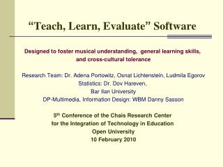 Teach, Learn, Evaluate  Software