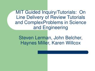 MIT Guided Inquiry