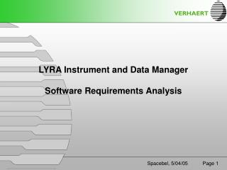 LYRA Instrument and Data Manager  Software Requirements Analysis