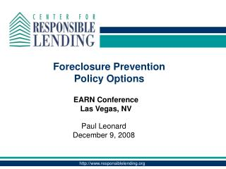 Foreclosure Prevention  Policy Options