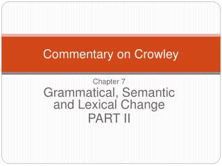 Commentary on Crowley