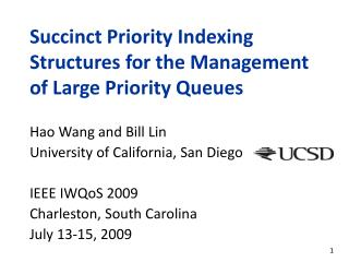 Succinct Priority Indexing Structures for the Management of Large Priority Queues