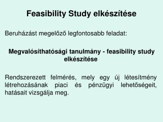 Feasibility Study elk sz t se